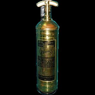 Vintage Brass Pyrene Fire Extinguisher With Original Bracket
