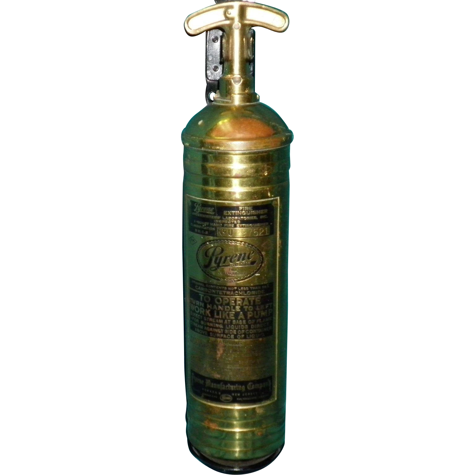 Vintage Brass Pyrene Fire Extinguisher With Original Bracket