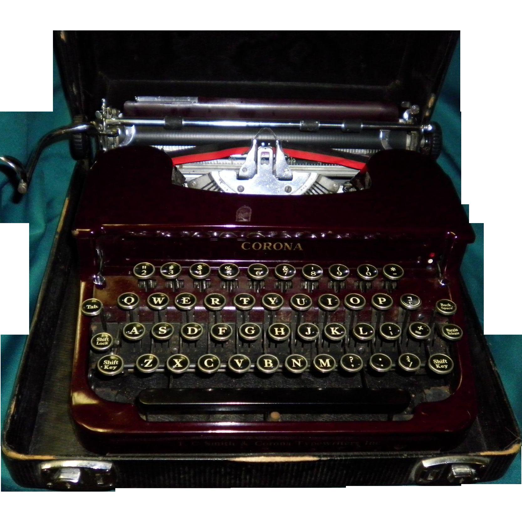 Vintage 1930's Smith Corona Portable Typewriter In Original Case