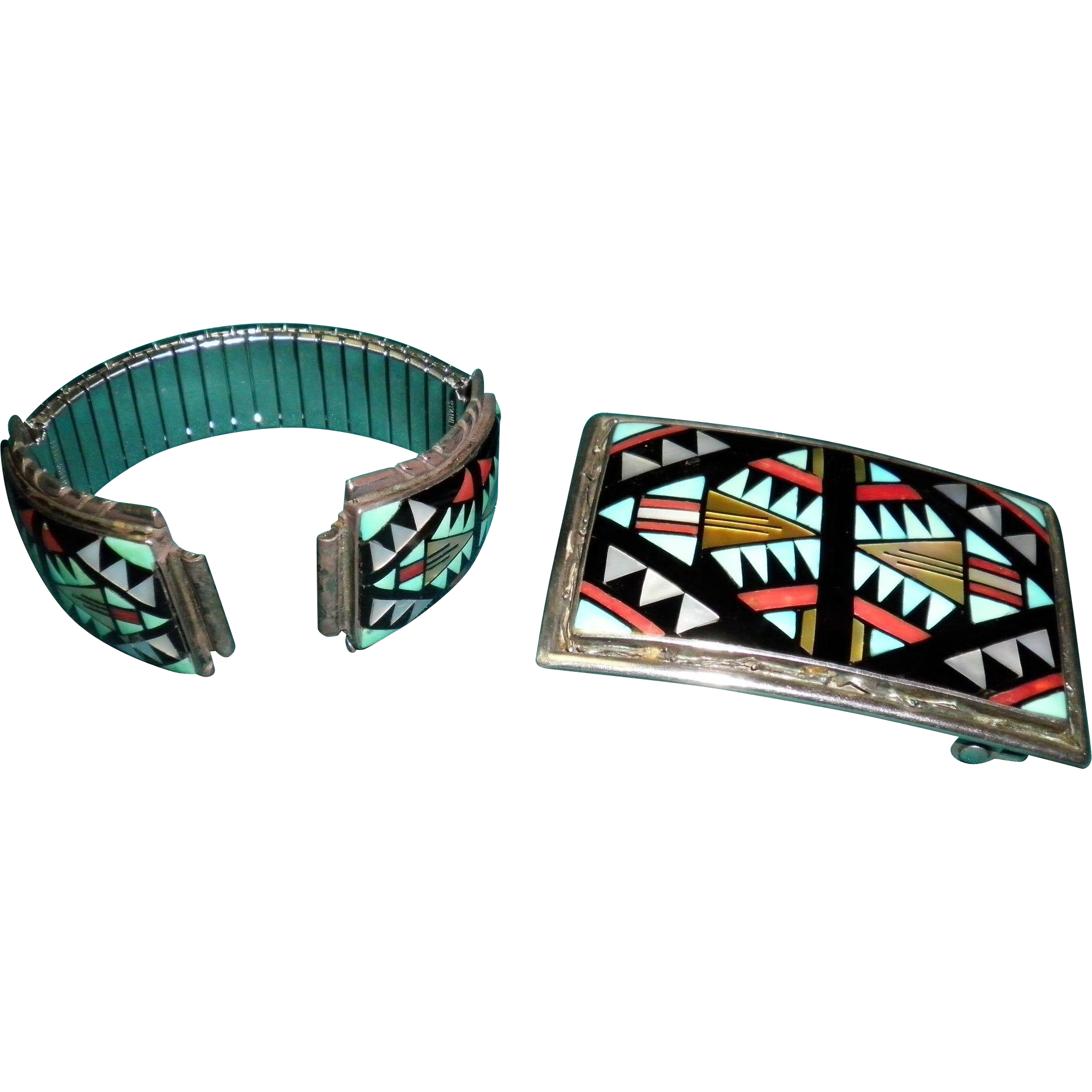 2 Piece Set Navajo Zuni Sterling Turquoise & Coral Belt Buckle & Watch Band Signed D. V. Eriacho