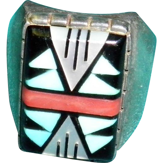 Navajo Zuni Sterling Turquoise & Coral Ring Signed D. V. Eriacho