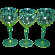 Set of 3 Paneled Vaseline Glass Cordial / Sherry Glasses