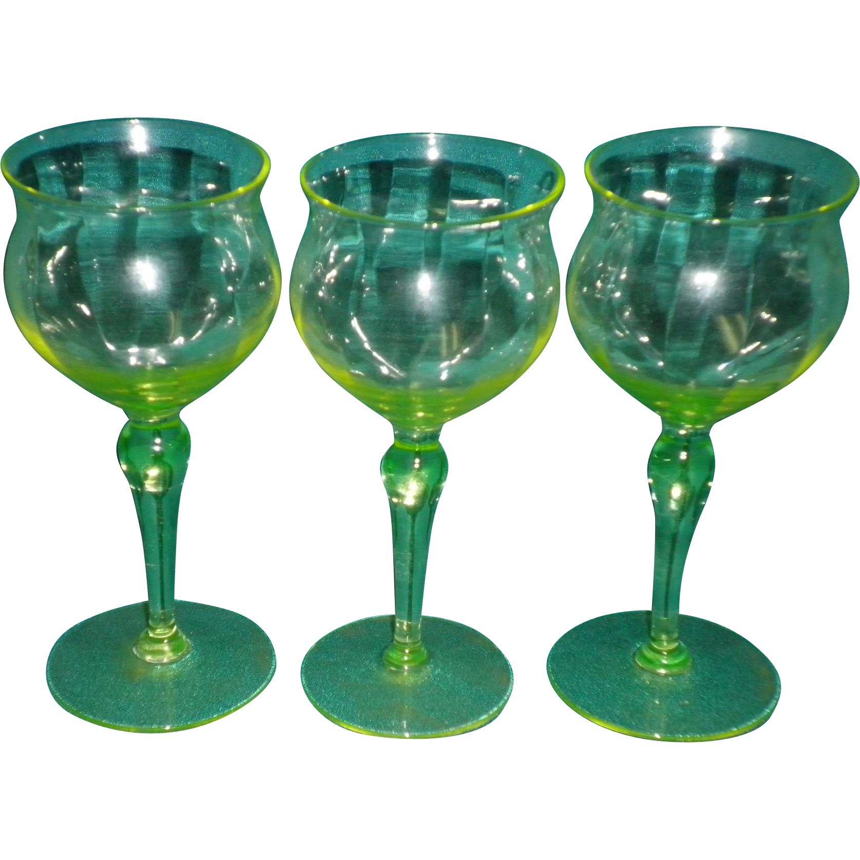 Set of 3 Paneled Vaseline Glass Cordial / Sherry Glasses