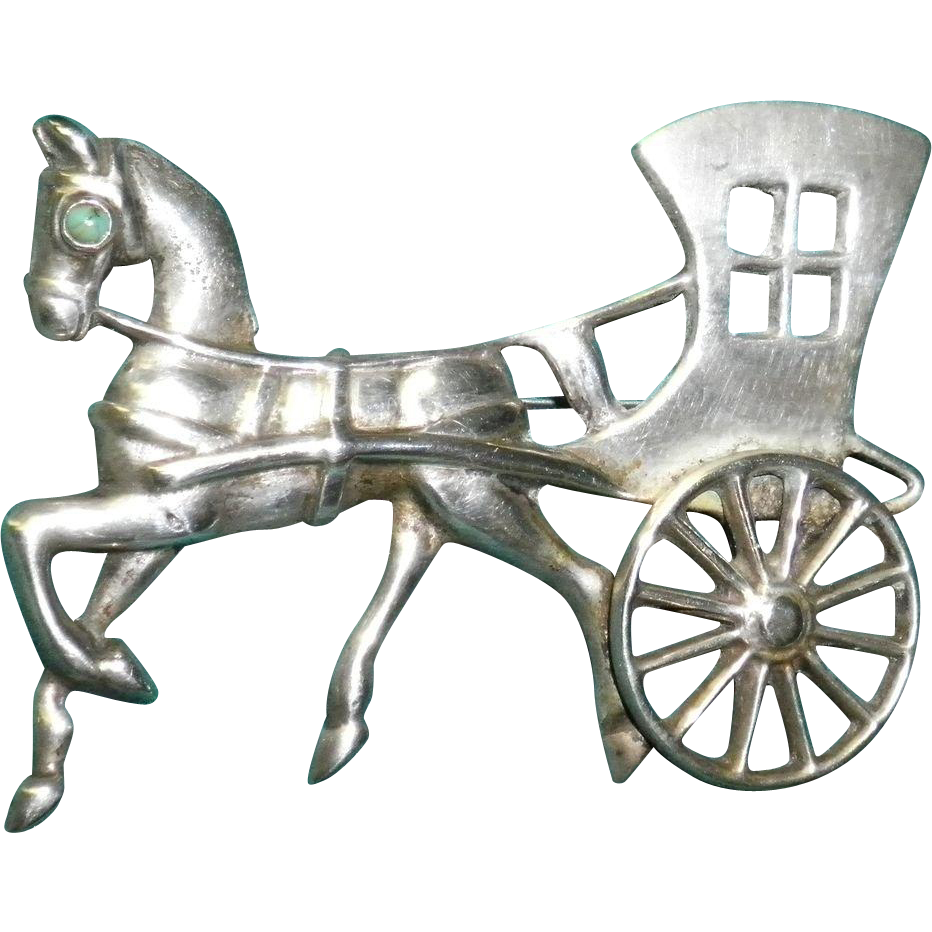 Mexican Silver Horse and Carriage With Turquoise Eye