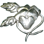 Large Mexican Silver Flower Pin