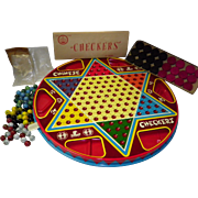 Vintage Ohio Art 2 in 1 Chinese Checkers Tin Litho No 538 Orig Box Complete