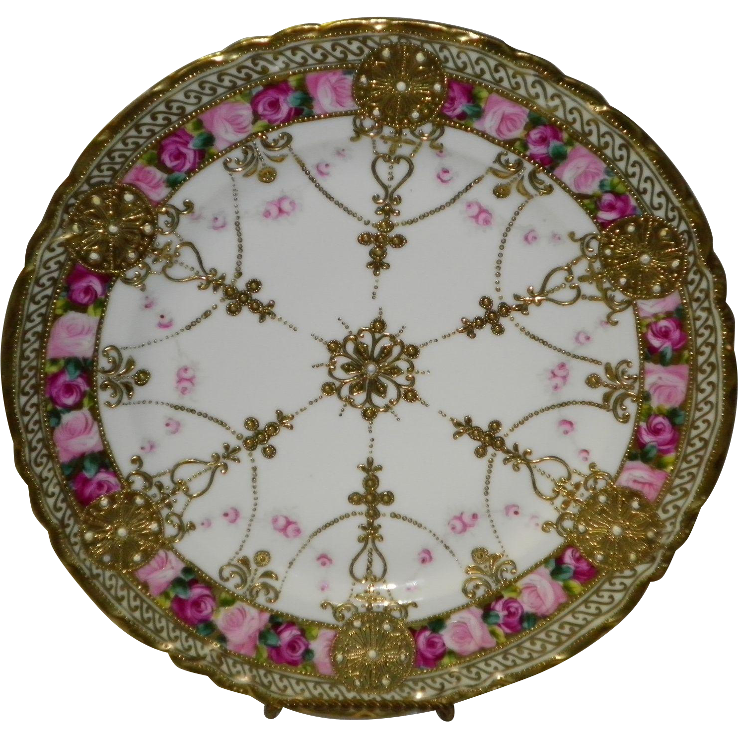 """Antique Noritake Nippon RC Gold Gilt Moriage Beaded Hand Painted 10"""" Plate"""