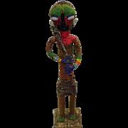 "African Tribal Art Beaded Bamileke Statue 28.5"""