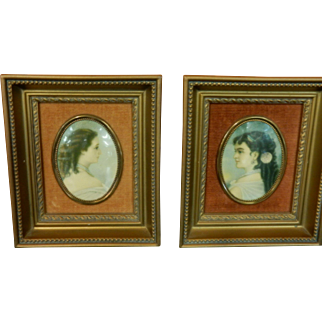 Pair of Vintage Cameo Creation Framed Prints - Adelina Patti & Empress Eugenie