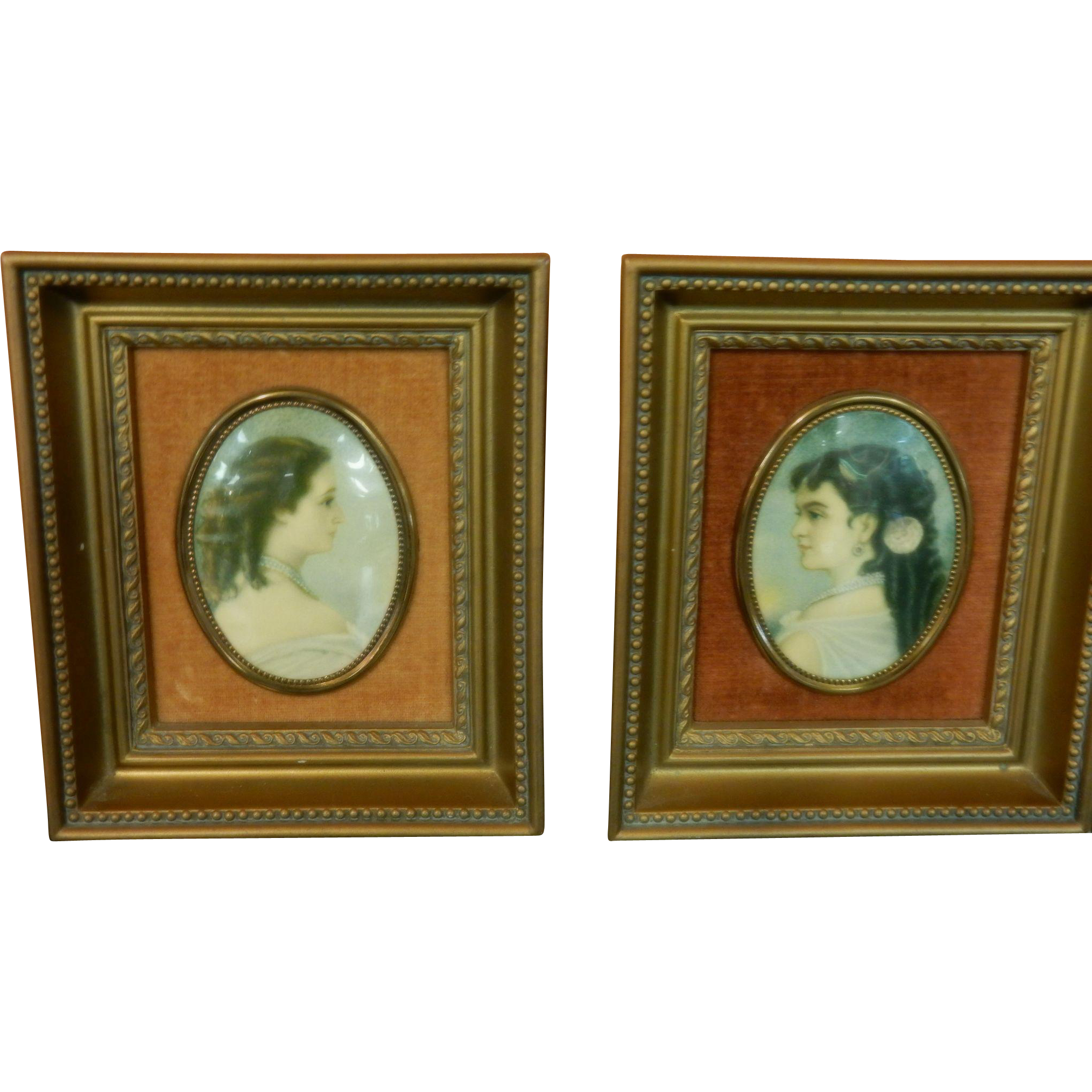 Pair of Vintage Cameo Creation Framed Prints - Adelina Patti & Empress Eugenie