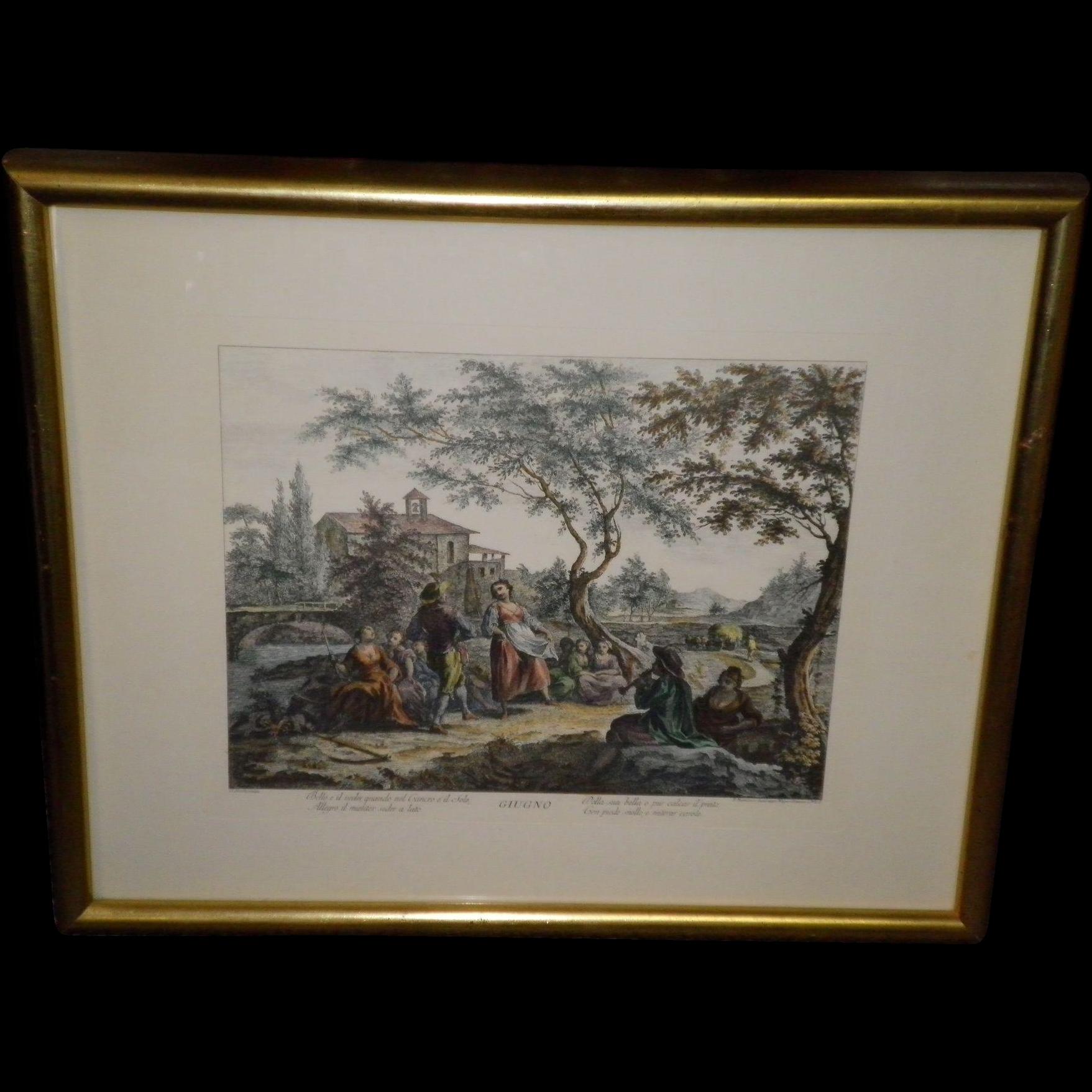 """Giuseppe Zocchi Framed Color Print Titled """"Giugno"""""""