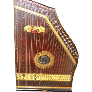 Antique Mandolin Guitar Zither in Original Box