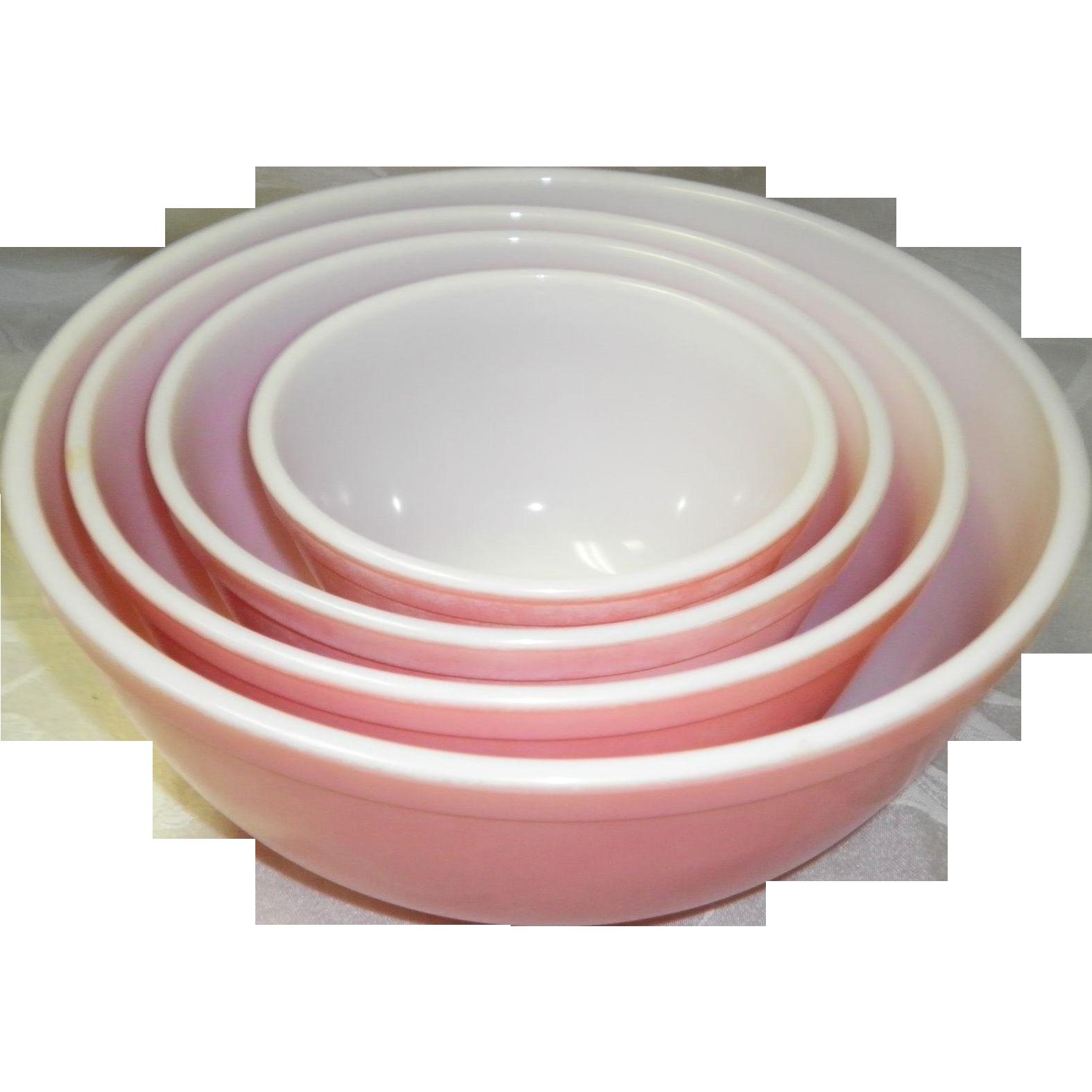 Vintage Pyrex 4 Pink Nesting Bowls 401- 402 - 403 - 404