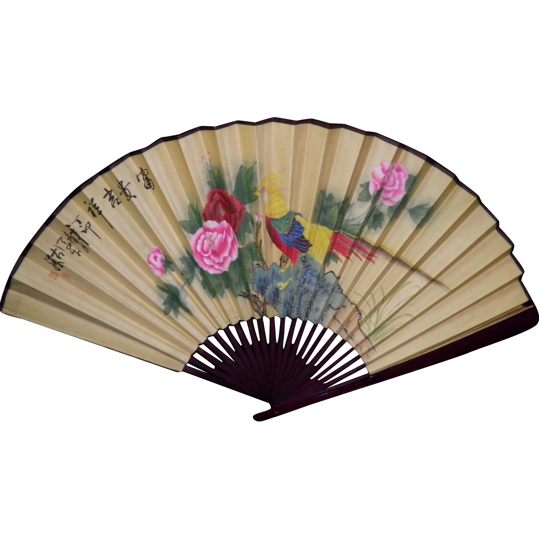 Vintage asian oriental wall fan decor from cameo antiques on ruby lane - Wall fans decorative ...