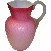 Herringbone Mother Of Pearl Satin Glass Pitcher As Is
