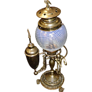 1907 Electrified Student Lamp With Blue Swirl Globe