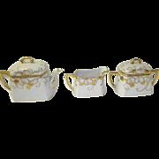 Nippon Hand Painted Teapot Creamer and Sugar Bowl Set