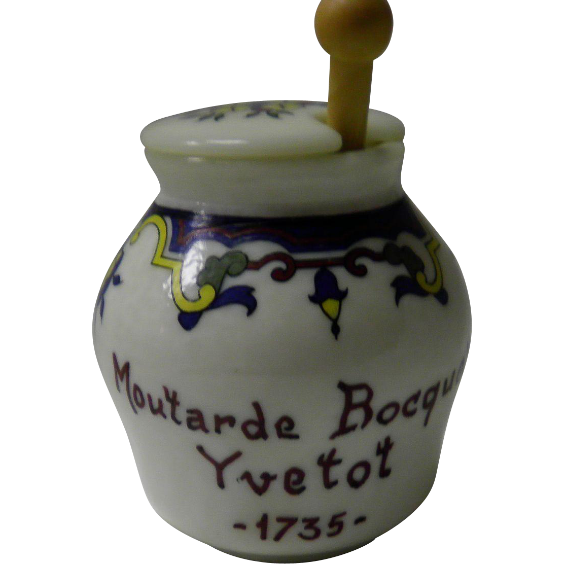 "Vintage French Mustard Jar With Spoon ""Moutarde Bocquet Yvetot""French Mustard Pot"
