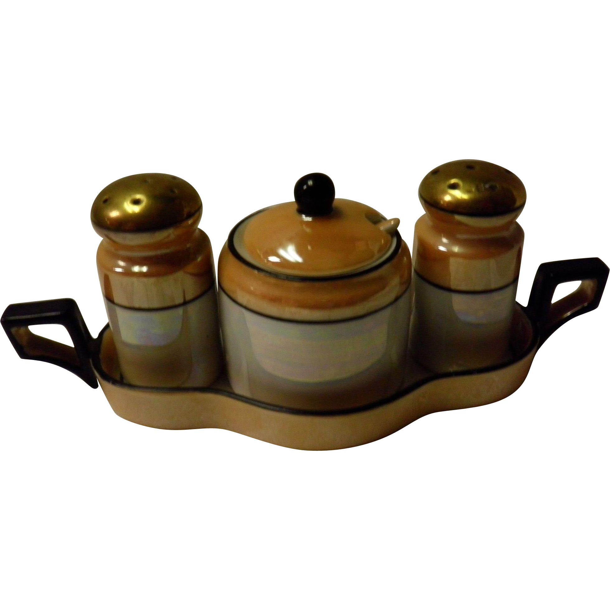 5 Piece Noritake Lusterware Condiment Set Japan