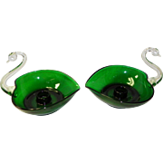 Pair Of Vintage 1950's Duncan Miller Pall Mall Green Clear Glass Swan Candle Stick Holders