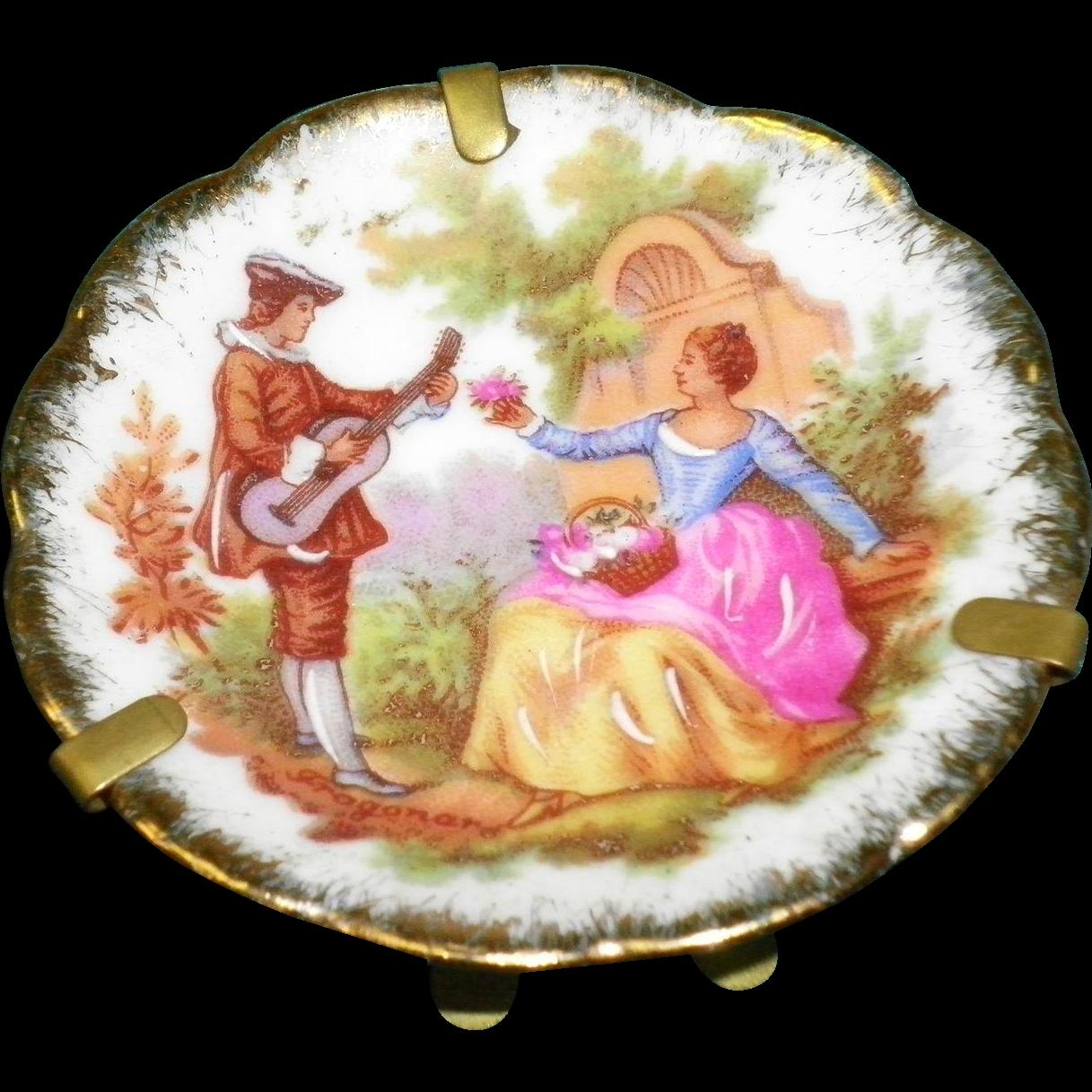 """Vintage Fragonard Limoges Miniature 2"""" Portrait Plate With Stand Hanger"""
