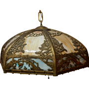 Stunning Slag Glass Chandelier Ceiling Fixture With Filigree Overlay