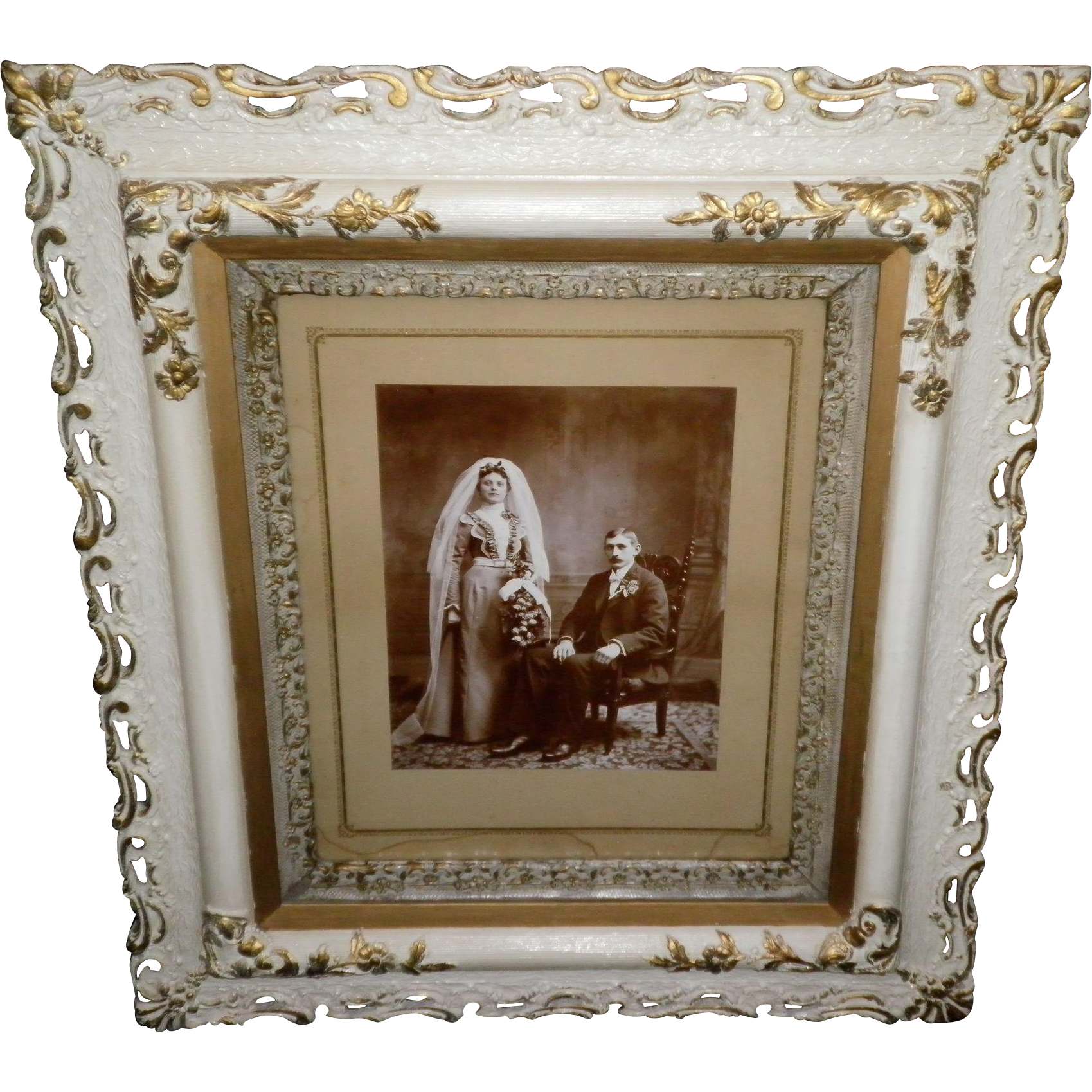Gilded Wood Framed Victorian Wedding Couple Portrait / Picture