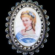 Limoges Hand Painted Porcelain Pin Pendant