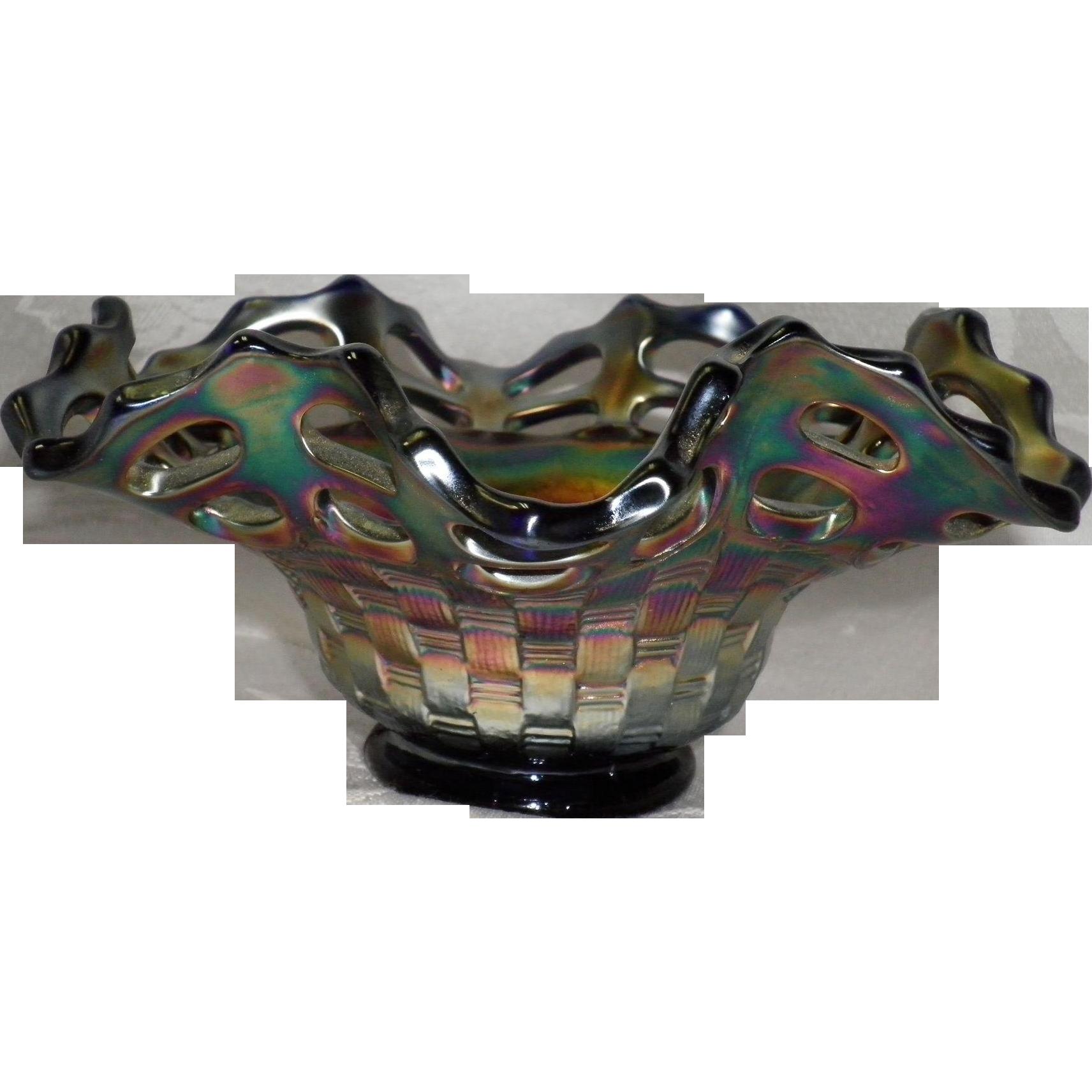 Fenton Cobalt Blue Carnival Iridescent  Glass Basket Weave Dish / Bowl
