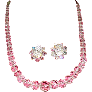 Czech Crystal Necklace And Clip Earrings