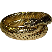 Whiting Davis 3 Coil Gold-Toned Mesh Snake Arm Band Bracelet