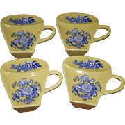 Set Of 4 Spode Yellow Tea Bag Coasters / Holders
