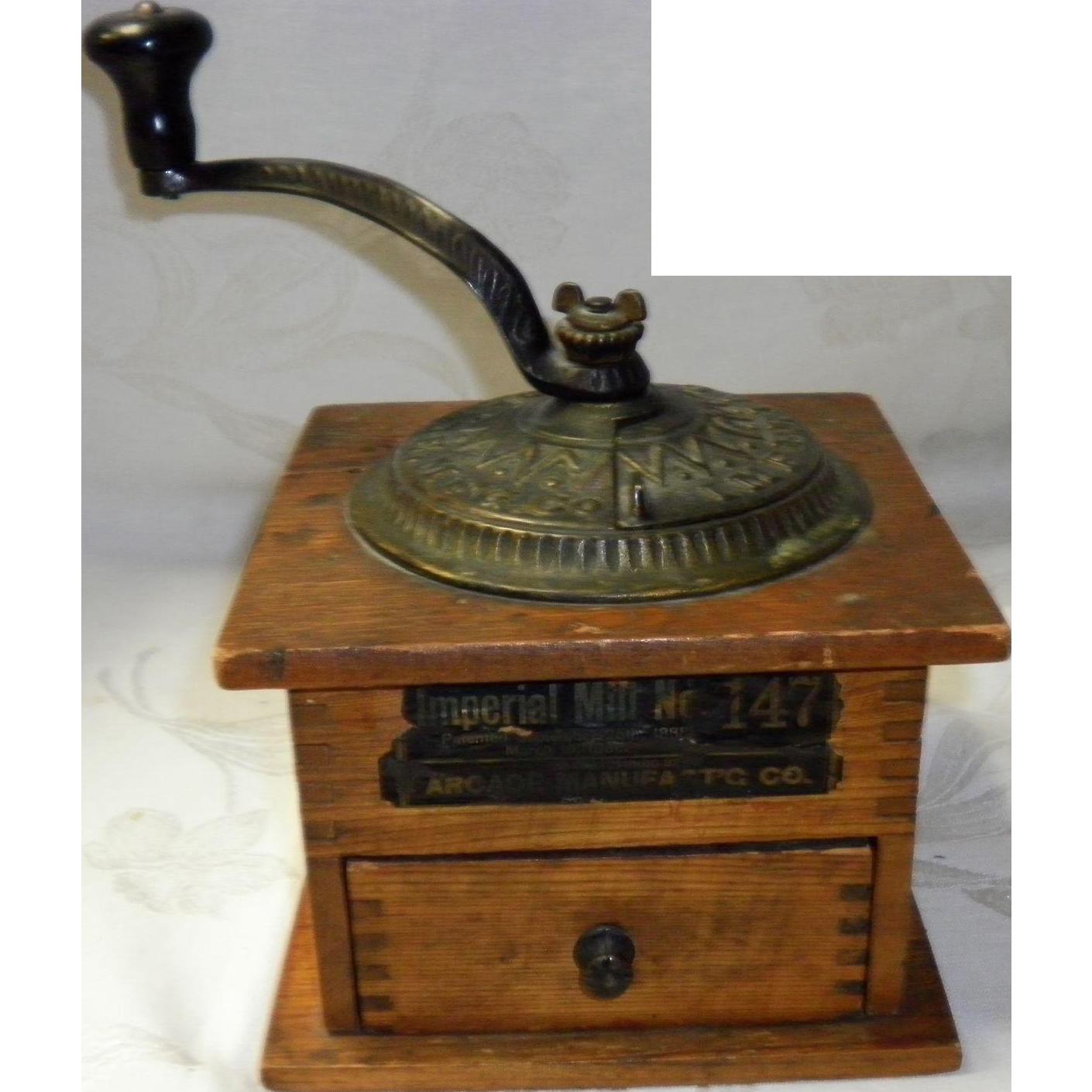 Old Coffee Grinders ~ Antique arcade coffee mill grinder imperial no pat