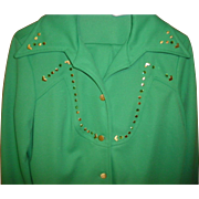 Women's Vintage Green Retro Pants Suit / Leisure Suit Size L