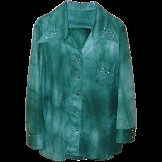 Women's Vintage Dark Green Retro Pants Suit / Leisure Suit Size L