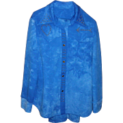 Women's Vintage Blue Retro Pants Suit / Leisure Suit Size L