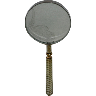 Antique 1889 King Optic Co. Expanding Magnifying Glass With Mother Of Pearl Handle