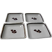 Set Of 4 Anthony Shaw & Co. Tea Leaf Butter Pats