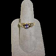 14K Yellow Gold Tanzanite & White Sapphire Ring