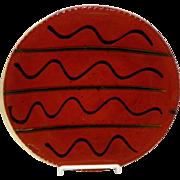 "Redware Pottery 9"" Slipware Plate Signed L. Breininger 1984"