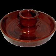 Redware Candlestick Holder Signed Breininger Pottery