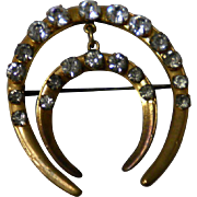 Vintage Double Horseshoe Pin Brooch With Rhinestones