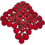 Large Cluster Red Stone Pin / Brooch