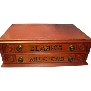 Antique Clark's Mile End 2 Drawer Spool Cabinet