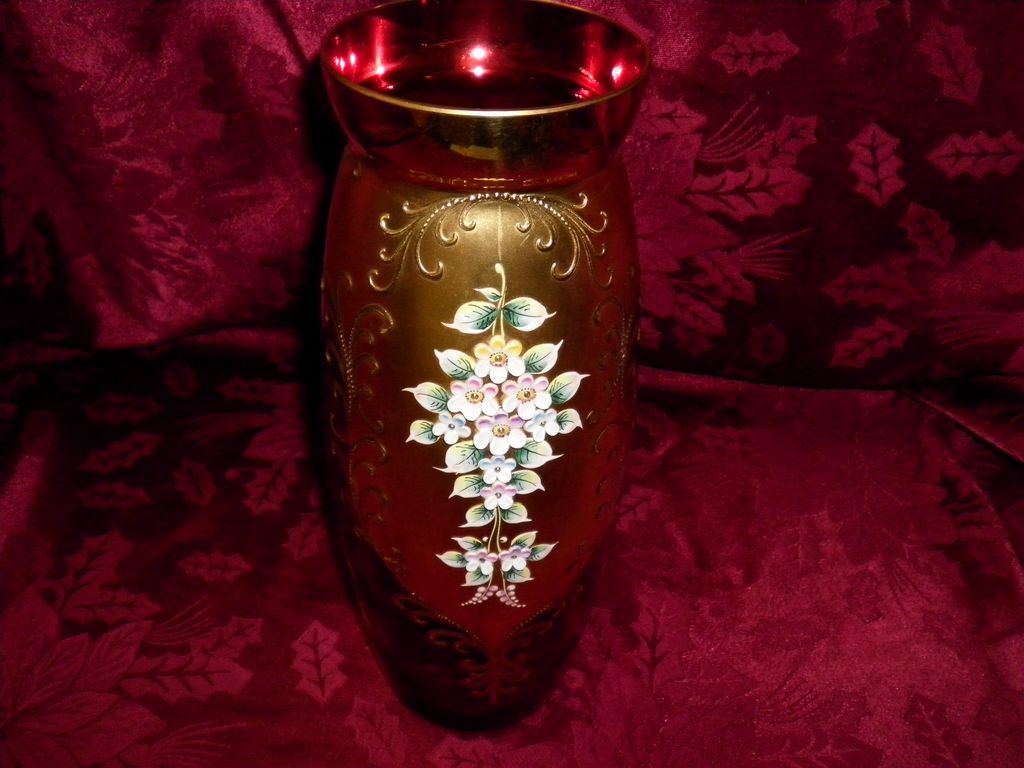 Bohemian Czech Cranberry Glass Vase With 22 Kt. Gold