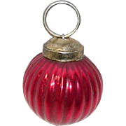 Kugel Style Red Ribbed Round Ornament
