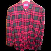 Vintage Pendleton Red Plaid Wool Shirt Size S