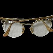 Vintage 1950's Bausch & Lomb 12K Gold Filled Cat Eye Glasses