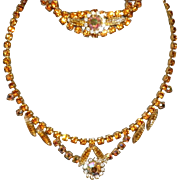 Vintage Rhinestone Necklace and Bracelet Set