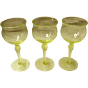 Set of 3 Vaseline Glass Cordial / Sherry Glasses